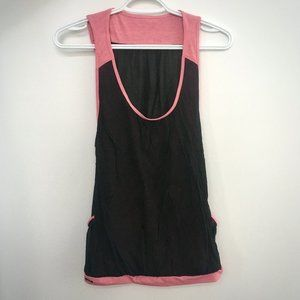 Black Open Side Workout Tank with Pink Trims